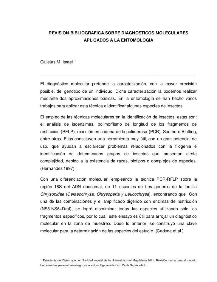 REVISION BIBLIOGRAFICA SOBRE DIAGNOSTICOS MOLECULARES                                APLICADOS A LA ENTOMOLOGIACallejas M ...