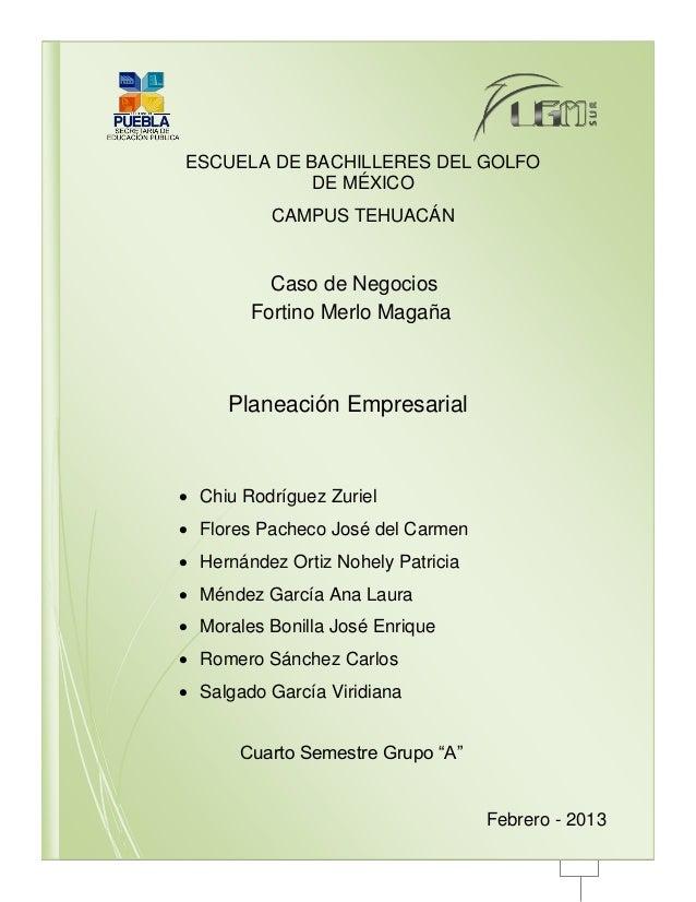 ESCUELA DE BACHILLERES DEL GOLFO           DE MÉXICO          CAMPUS TEHUACÁN          Caso de Negocios        Fortino Mer...