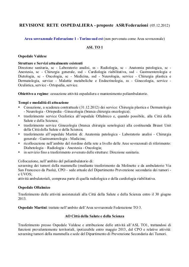 REVISIONE RETE OSPEDALIERA - proposte ASR/Federazioni (05.12.2012)    Area sovrazonale Federazione 1 - Torino sud est (non...