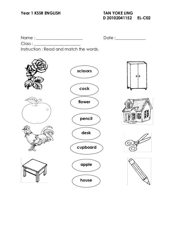 Worksheet Year 1 English Kssr - Worksheets