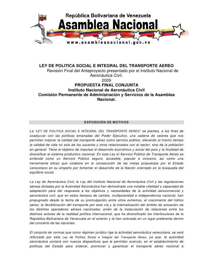 LEY DE POLITICA SOCIAL E INTEGRAL DEL TRANSPORTE AEREO         Revisión Final del Anteproyecto presentado por...