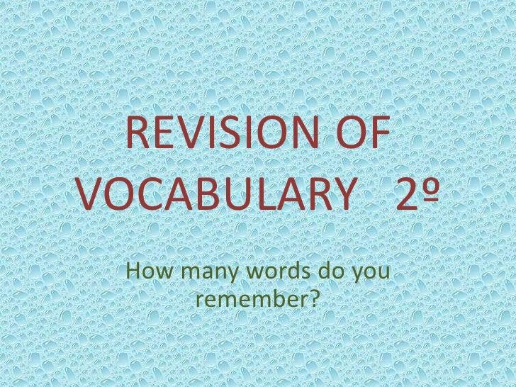 Revision of vocabulary   2º