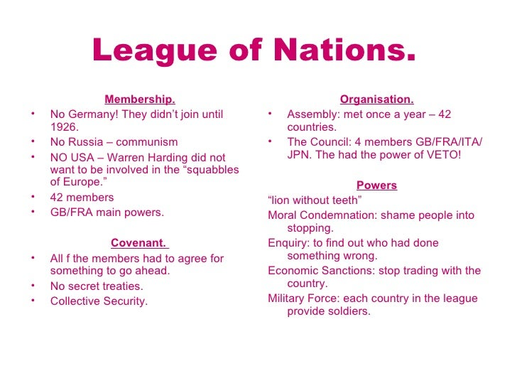 why did the league of nations