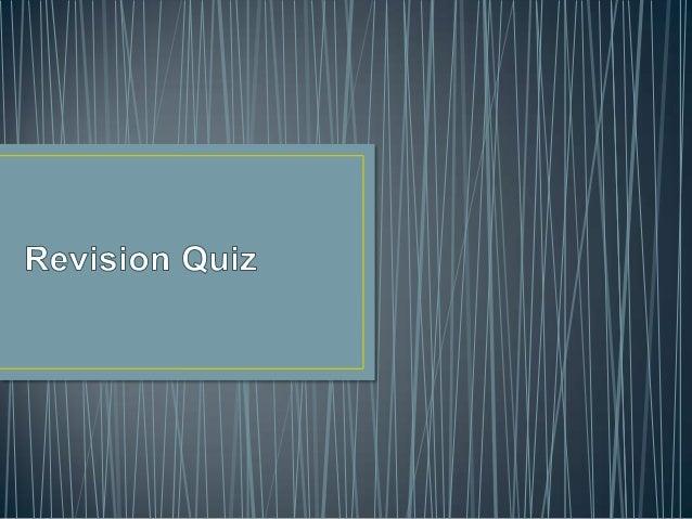 Year 11 Revision Quiz