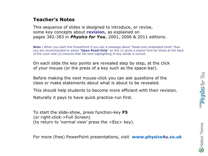 Teacher's Notes This sequence of slides is designed to introduce, or revise,  some key concepts about  revision , as expla...