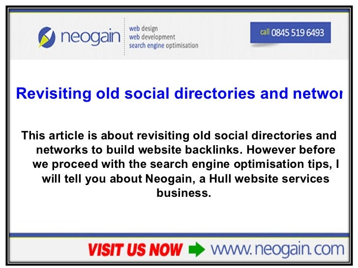 Revisiting old social directories and networks to build backlinks