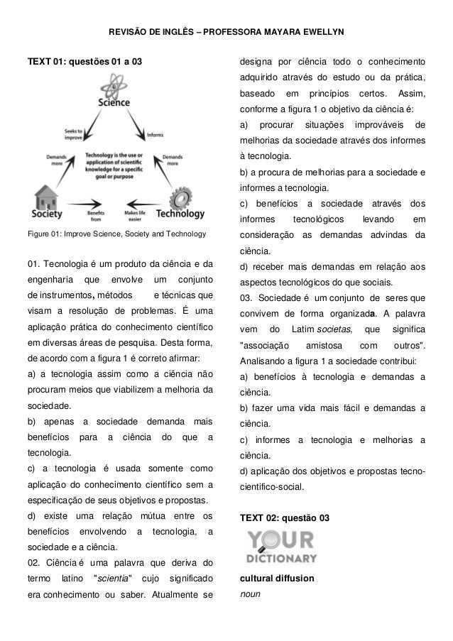 REVISÃO DE INGLÊS – PROFESSORA MAYARA EWELLYN TEXT 01: questões 01 a 03 Figure 01: Improve Science, Society and Technology...