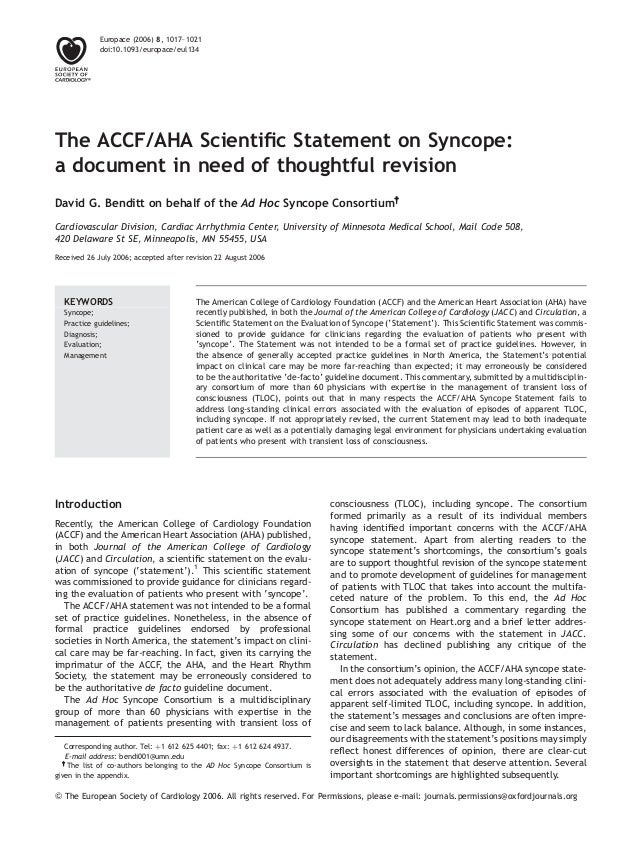 The ACCF/AHA Scientific Statement on Syncope: a document in need of thoughtful revision David G. Benditt on behalf of the A...