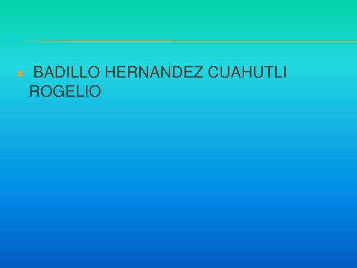 BADILLO HERNANDEZ CUAHUTLI ROGELIO <br />