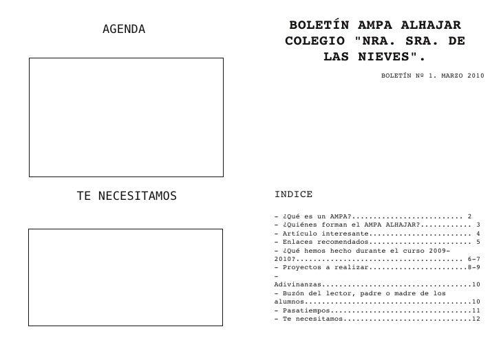 """AGENDA          BOLETÍN AMPA ALHAJAR                    COLEGIO """"NRA. SRA. DE                        LAS NIEVES"""".         ..."""