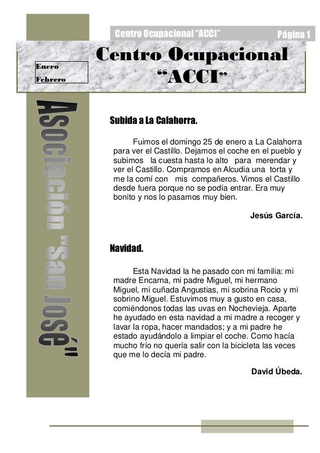 """Centro Ocupacional """"ACCI"""" Página 1 Enero Febrero Subida a La Calahorra. Navidad. Centro Ocupacional """"ACCI"""" Esta Navidad la..."""