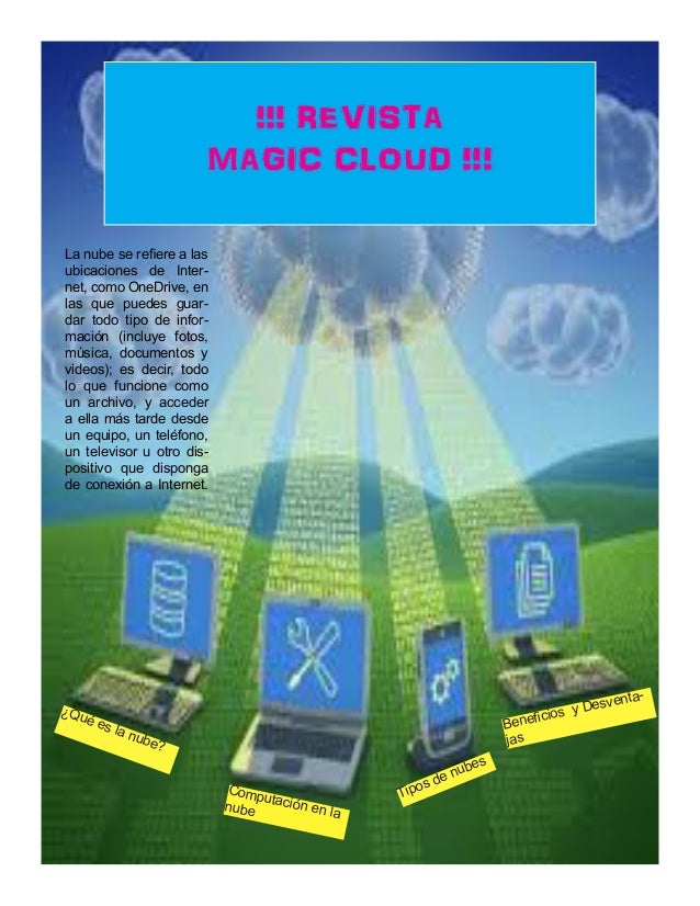 !!! REVISTA MAGIC CLOUD !!! ¿Qué es la nube? Computación en lanube Beneficios y Desventa- jas La nube se refiere a las ubi...