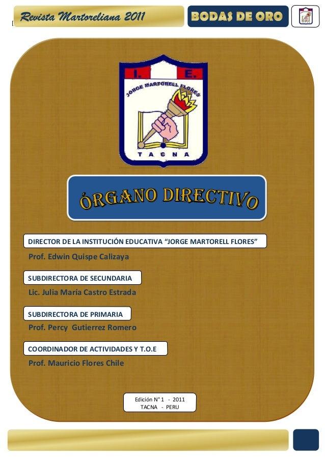 """[Escribir texto]       DIRECTOR DE LA INSTITUCIÓN EDUCATIVA """"JORGE MARTORELL FLORES""""       Prof. Edwin Quispe Calizaya    ..."""