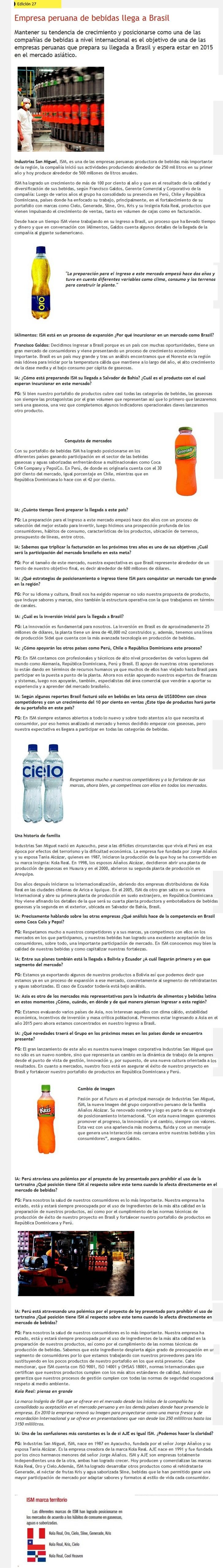Revista alimentos - Empresa peruana de bebidas llega a Brasil