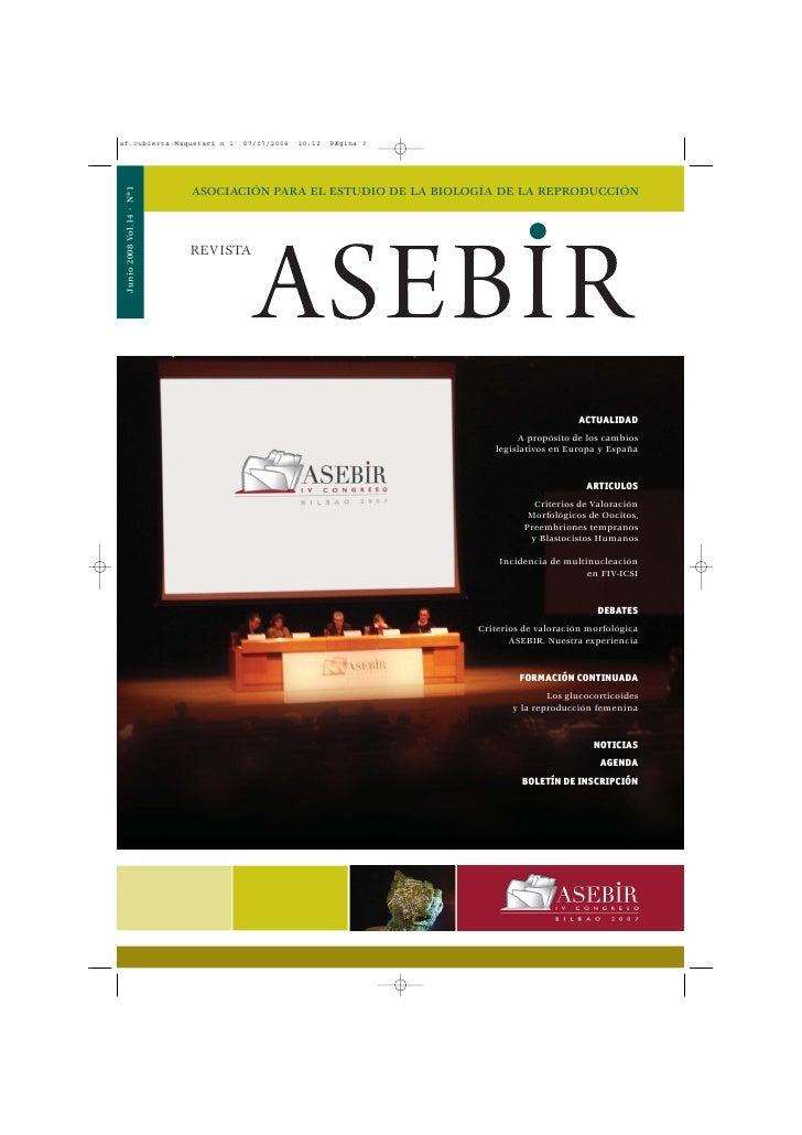 Junio 2008 Vol.14 · Nº1                           ASOCIACIÓN PARA EL ESTUDIO DE LA BIOLOGÍA DE LA REPRODUCCIÓN            ...