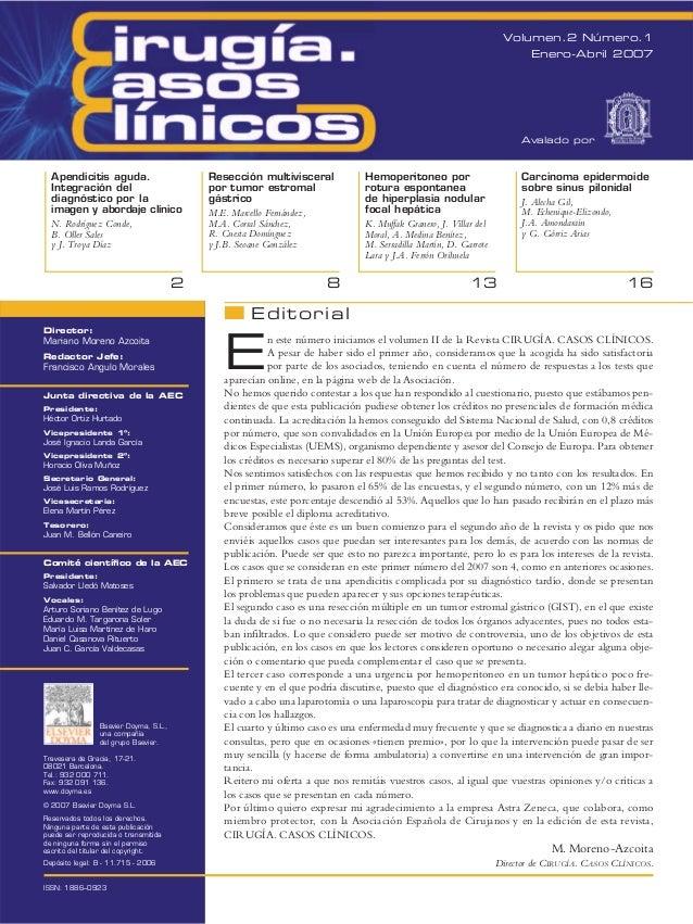 Volumen.2 Número.1 Enero-Abril 2007  Avalado por  Apendicitis aguda. Integración del diagnóstico por la imagen y abordaje ...