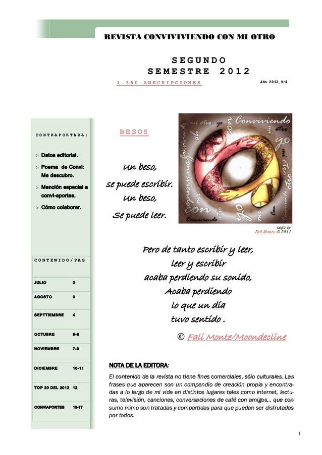 REVISTA CONVIVIVIENDO CON MI OTRO  SEGUNDO SEMESTRE 2012 1.360  CONTRAPORTADA:  SUSCRIPCIONES  Año 2013, Nº4  BESOS   Dat...
