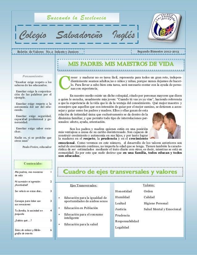 Buscando la Excelencia   Colegio Salvadoreño Inglés  Boletín de Valores No.2 Infants y Juniors                            ...