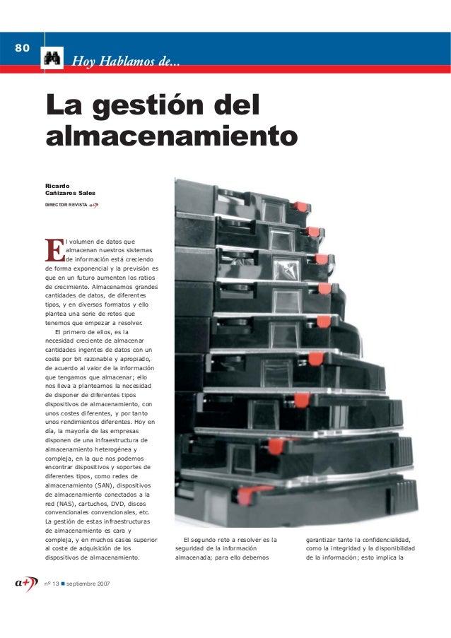 La gestión del almacenamiento - septiembre 2007