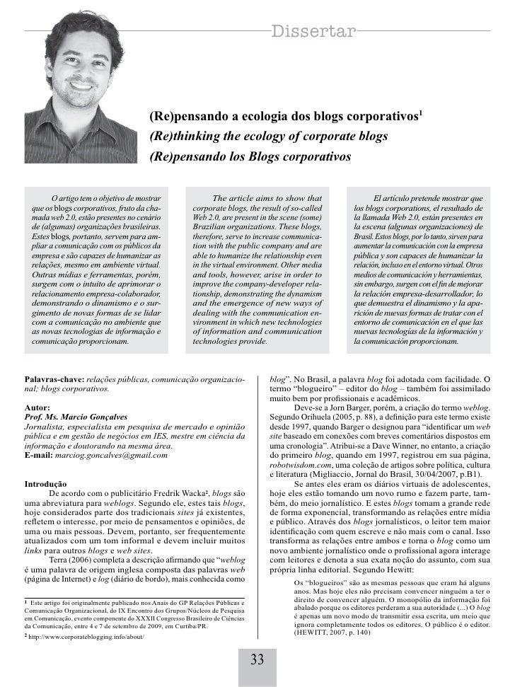 (Re)pensando a ecologia dos blogs corporativos