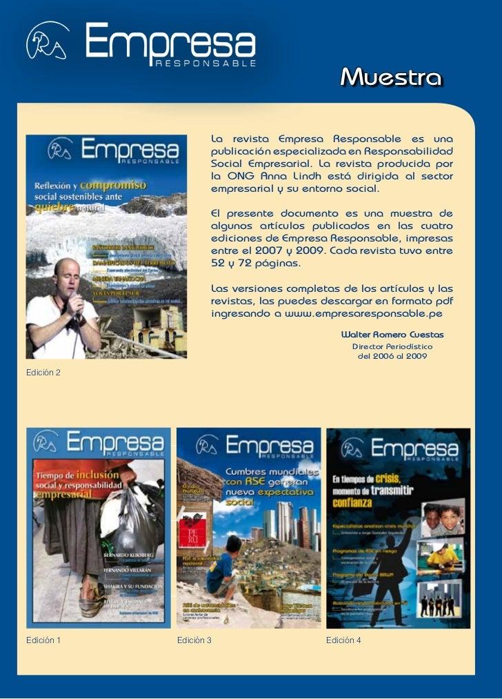 Muestra                    La revista Empresa Responsable es una                    publicación especializada en Responsab...