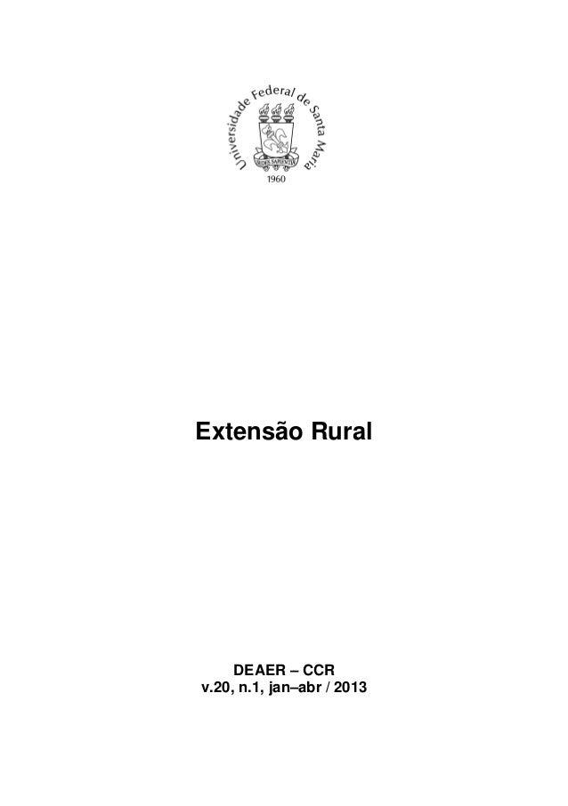 Extensão Rural     DEAER – CCRv.20, n.1, jan–abr / 2013