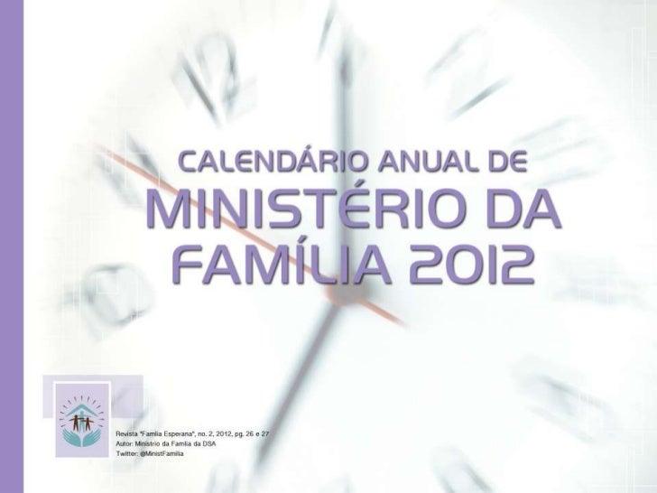 Calendário de Ministério da Família