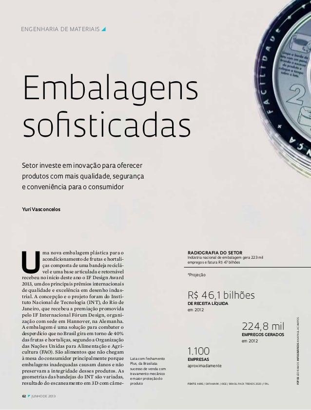 ENGENHARIA DE MATERIAISy  Embalagens sofisticadas Setor investe em inovação para oferecer produtos com mais qualidade, se...