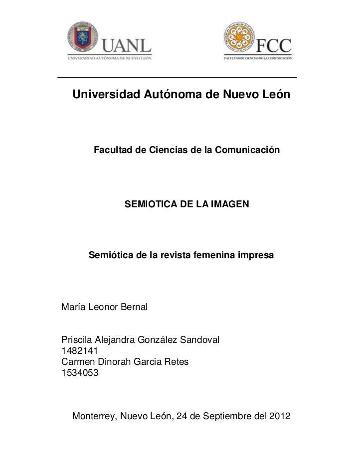 Universidad Autónoma de Nuevo León       Facultad de Ciencias de la Comunicación              SEMIOTICA DE LA IMAGEN      ...