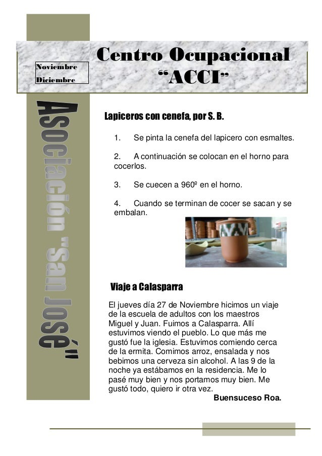 """Noviembre Diciembre Lapiceros con cenefa, por S. B. Viaje a Calasparra Centro Ocupacional """"ACCI"""" El jueves día 27 de Novie..."""