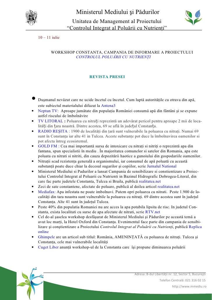 """Ministerul Mediului şi Pădurilor                       Unitatea de Management al Proiectului                     """"Controlu..."""