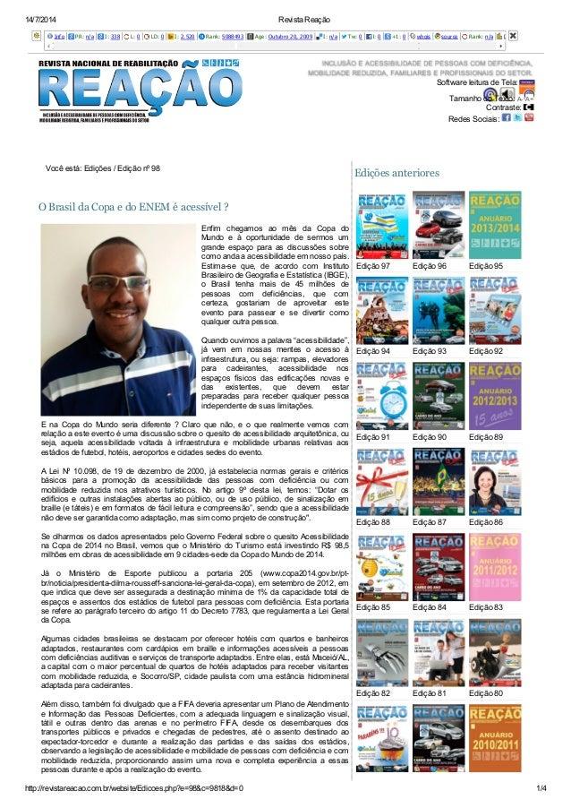 14/7/2014 Revista Reação http://revistareacao.com.br/website/Edicoes.php?e=98&c=9818&d=0 1/4 Info PR: n/a I: 338 L: 0 LD: ...