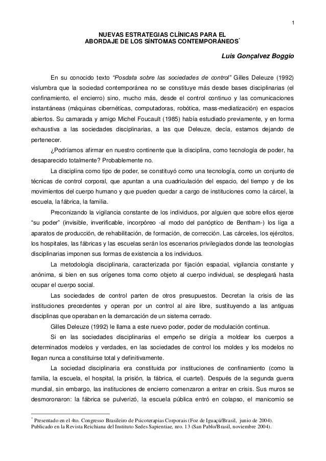 """1NUEVAS ESTRATEGIAS CLÍNICAS PARA ELABORDAJE DE LOS SÍNTOMAS CONTEMPORÁNEOS*Luis Gonçalvez BoggioEn su conocido texto """"Pos..."""