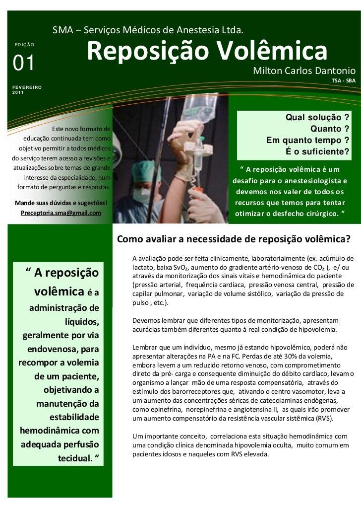 SMA – Serviços Médicos de Anestesia Ltda. EDIÇÃO01                         Reposição Volêmica                             ...