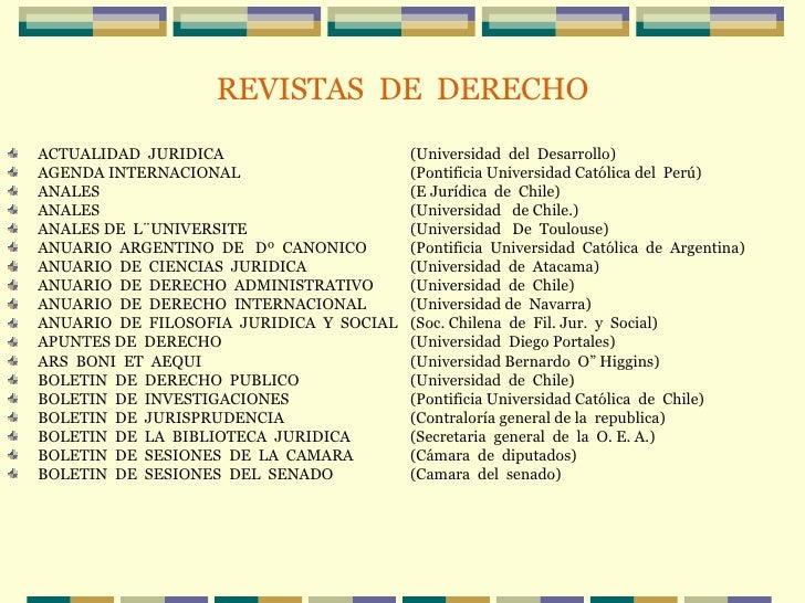 REVISTAS  DE  DERECHO <ul><li>ACTUALIDAD  JURIDICA (Universidad  del  Desarrollo) </li></ul><ul><li>AGENDA INTERNACIONAL (...