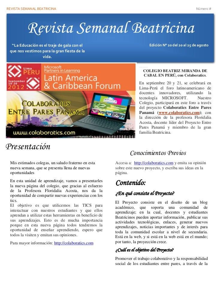 Revista semanal del 20 al 25 de agosto