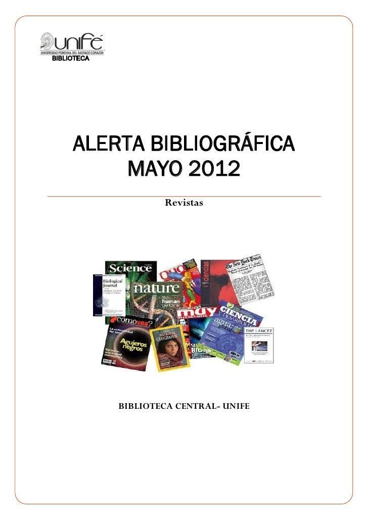 0    ALERTA BIBLIOGRÁFICA         MAYO 2012                Revistas        BIBLIOTECA CENTRAL- UNIFE