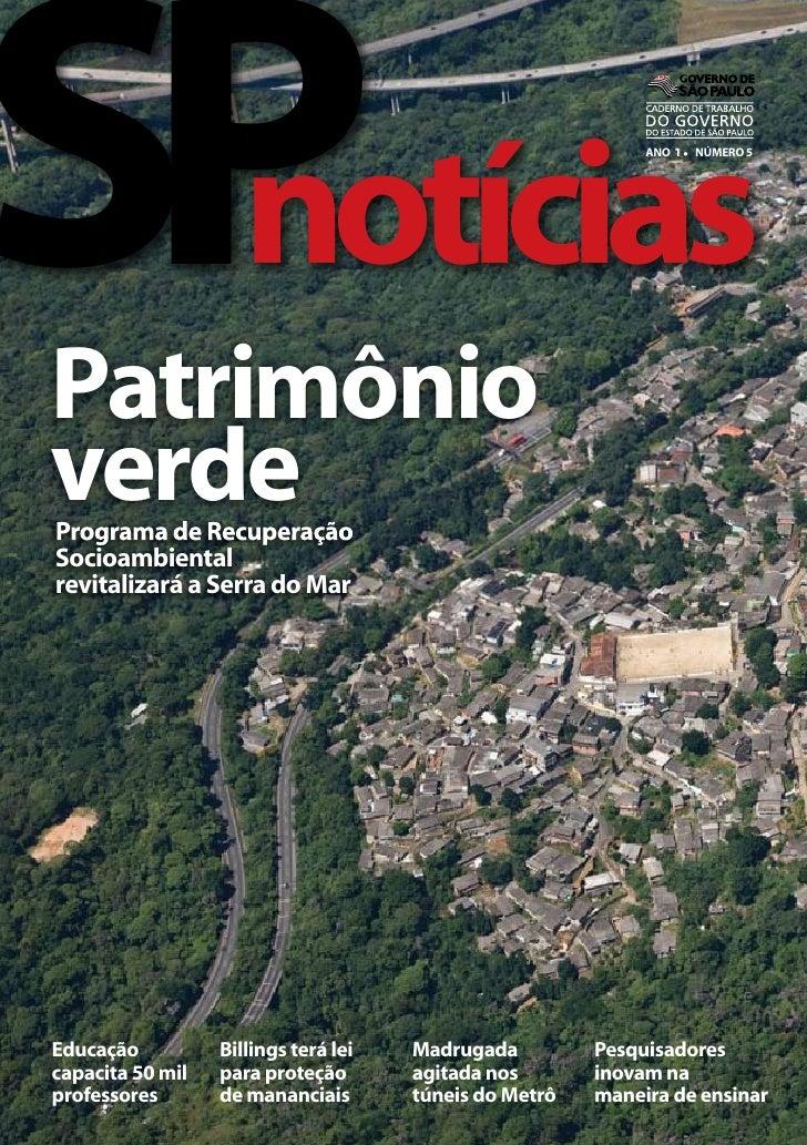 SP  notícias Patrimônio                                                              ANO 1 l NÚMERO 5     verde Programa d...