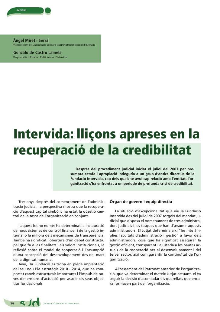 Intervida: lliçons apreses en la recuperació de la credibilitat