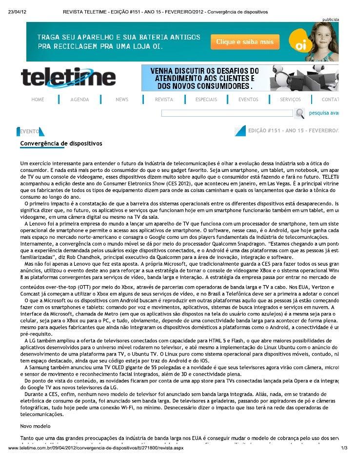 Reportagem TELETIME - ed. #151 - ano 15 - FEV 2012 - Convergência de dispositivos