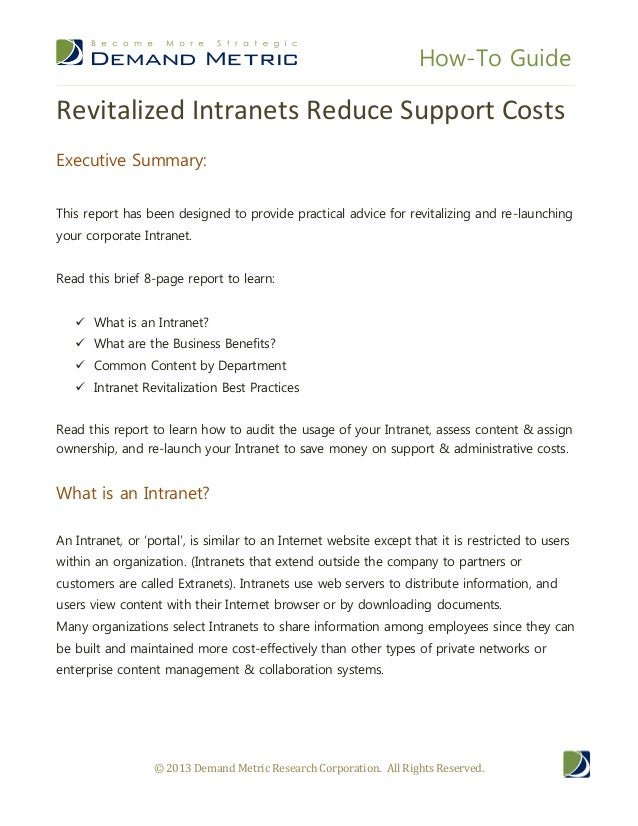 Revitalizing Intranets Reduces Support Costs
