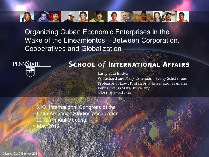 Organizing Cuban Economic Enterprises in the Wake of the Lineamientos