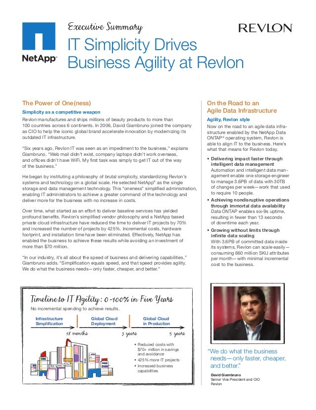 Executive Summary                       IT Simplicity Drives                       Business Agility at RevlonThe Power of ...