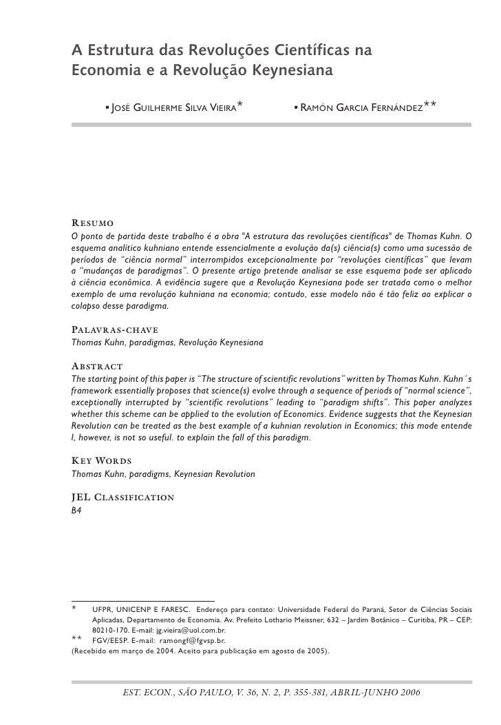 A Estrutura das Revoluções Científicas na Economia e a Revolução Keynesiana             JoséGuilhermesilvavieira   ...