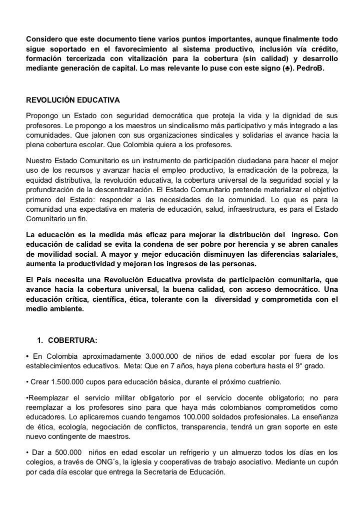 REVOLUCIÓN EDUCATIVA (Propuesta por el Gobierno)