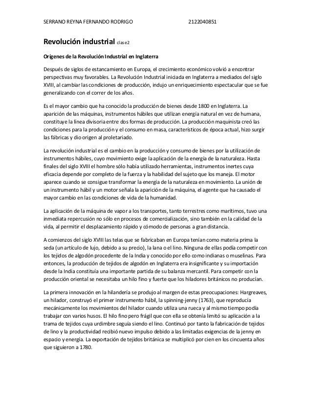 SERRANO REYNA FERNANDO RODRIGO                                    2122040851Revolución industrial clase2Orígenes de la Rev...