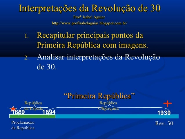 Interpretações da Revolução de 30                               Profª Isabel Aguiar                   http://www.profisabe...
