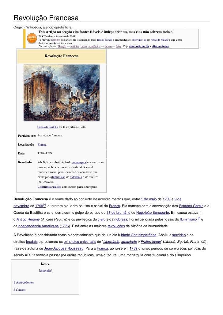 Revolução FrancesaOrigem: Wikipédia, a enciclopédia livre.                  Este artigo ou secção cita fontes fiáveis e in...