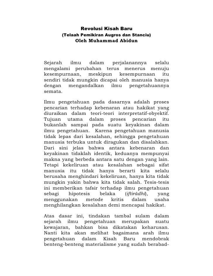 Revolusi Kisah Baru       (Telaah Pemikiran Augros dan Stanciu)             Oleh Muhammad AbidunSejarah     ilmu  dalam   ...