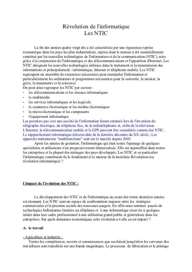 Révolution de linformatique                                   Les NTIC        La fin des années quatre vingt dix a été car...